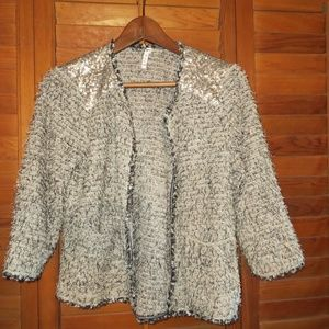 Textured & Silver Sequin Open Cardigan